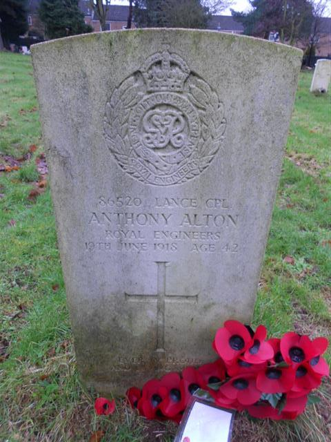 Commonwealth War Graves Commission headstone marking the grave of Anthony Alton in Nottingham Northern Cemetery.