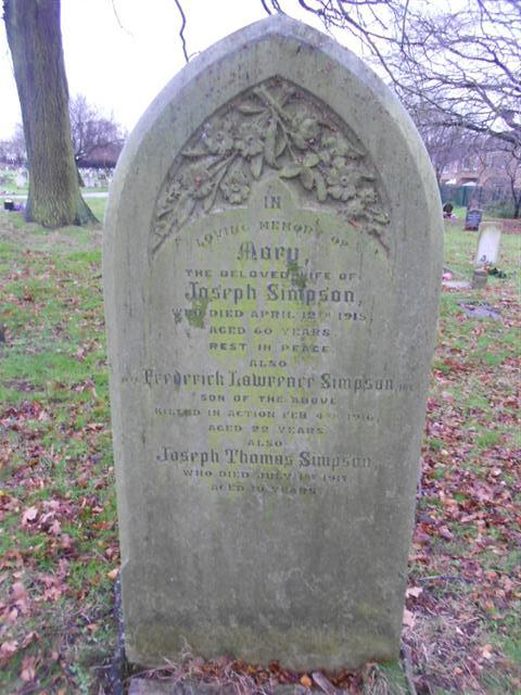 Photo shows the family grave of the Simpson family which commemorates Frederick Lawrence Simpson in Nottingham Northern Cemetery