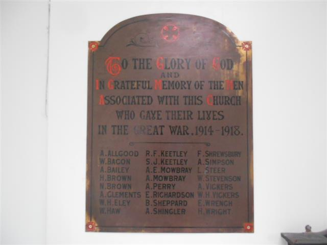 this memorial was originally sited in the Lenton Wesleyan Methodist Church on Church Street Lenton. The church closed in the 1960's and was demolished as part of the redevelopment of the Willoughby Street area. It can now be found in the Lenton Methodist Church, Derby Road, Lenton 