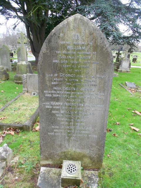 Photo shows the family grave of the Hardy family commemorating  George Hardy at Nottingham Northern cemetery 