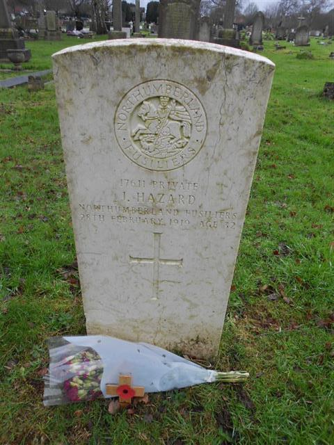 Commonwealth war grave headstone marking the grave of J Hazard at Nottingham Northern Cemetery 