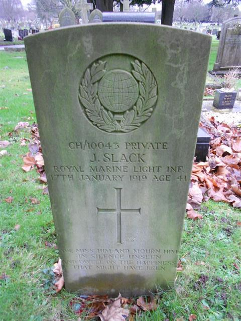 Commonwealth war grave headstone marking the grave of John Slack at Nottingham Northern Cemetery.
