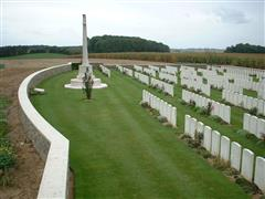 Photo shows Premont British Cemetery where Alfred Ernest Scrafield is buried. 