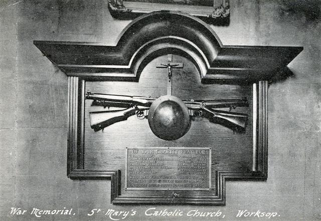 Photo shows the war memorial which was in St Mary's Roman Catholic Church and which was removed in 1960 and is no longer on display in the church. 