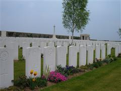 Photo shows Orchard Dump Cemetery Arleux-En-Gohelle cemetery where George Turner is buried, photo courtesy of the CWGC