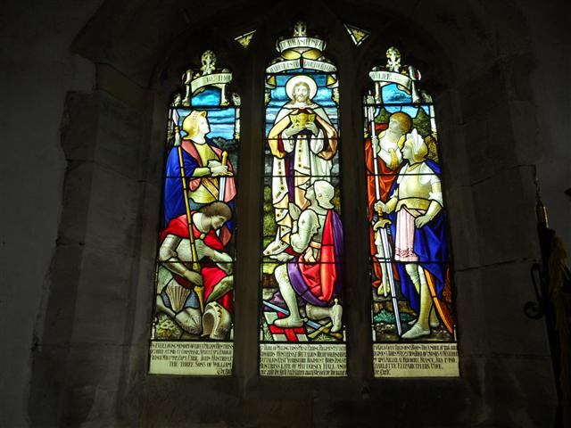 Stained glass window dedicated to the 3 sons of William and Charlotte Huntriss