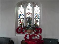 This stained glass memorial window is within All Saints church, has a dedication which reads ' Remember with thanksgiving and all honour the men of Misterton who fell in the Great War 1914-18 to whose memory this window is dedicated' Photo taken by Peter Gillings