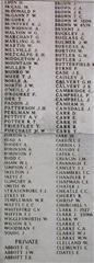Shows the panel on the Menin Gate memorial Ypres, upon which Albert George Abbott is commemorated