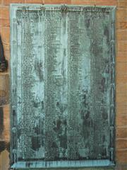 This photo shows a close up of the war memorial on the wall of  St Mary's church, Bulwell. 