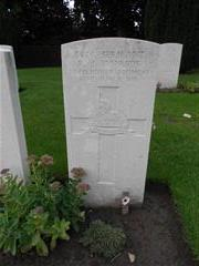 The commonwealth war grave headstone marking the grave of Ralph Joseph Inwards at Ramparts cemetery, Lille Gate, Ypres grave reference E 21 Courtesy of peter Gillings