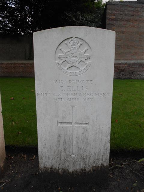 The commonwealth wargrave marking the grave of George Ellis at Reservoir Cemetery, Ypres, Belgium. Courtesy of Peter Gillings (Sept 2015)