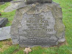 Close up of the inscription on the headstone commemorating Francis henry Kirk at Arnold (Redhill) Cemetery .