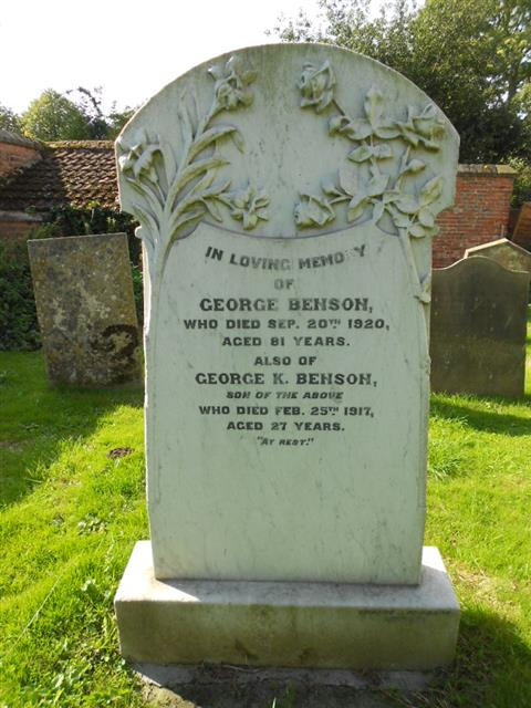 The family grave of the Benson family where George Keywoth Benson is buried, at Sturton le Steeple parish churchyard. 
