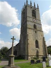 St Peters Church and war memorial, Sturton le Steeple, where George Keywoth Benson is buried and commemorated.