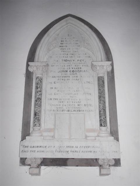 Photo showing the war memorial situated on the inside of the North wall. 