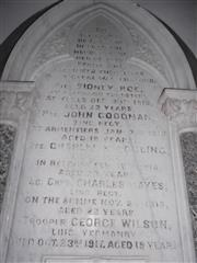 photo shows a close up of the memorial situated on the North wall of the church. 