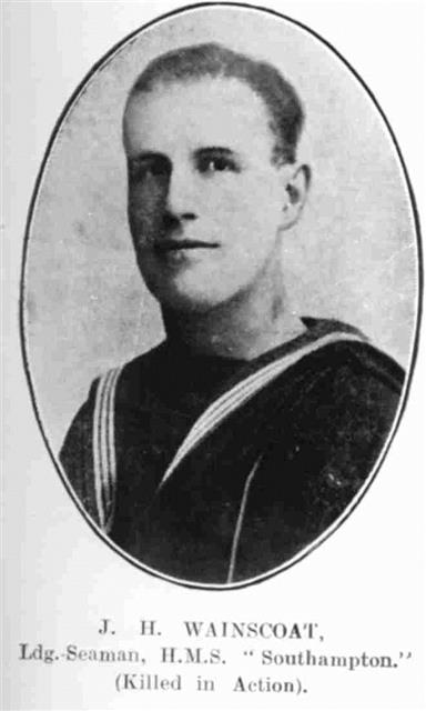 James Horace Wainscoat leading seaman who served aboard HMS Southampton. 
