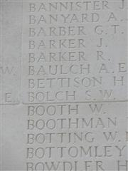 Harold Bettison's name on the Thiepval memorial.  Photograph courtesy of Tony Lumb