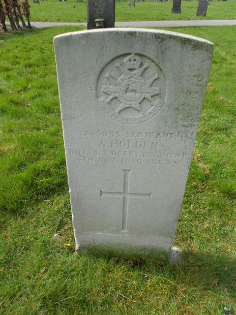 Photo shows the commonwealth wargrave headstone marking the grave of Arthur Holden in the General Cemetery, Nottingham. 