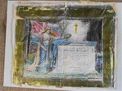 photo shows a commemorative certificate kept by the family of Benjamin Williams following his death, now in possession of the Bassetlaw Museum, Retford, courtesy of the Bassetlaw Museum.