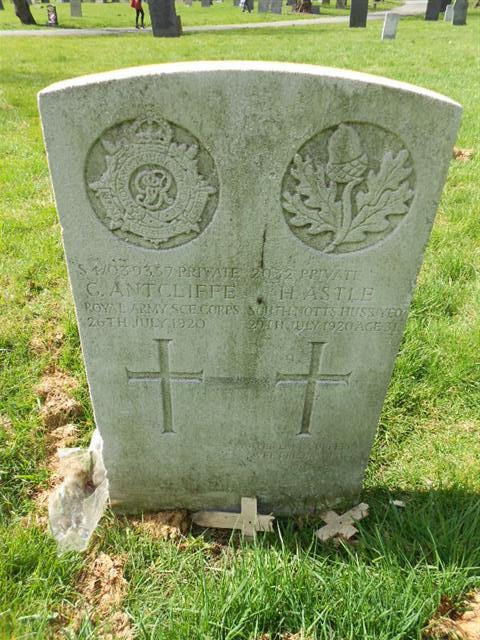 The commonwealth wargrave headstone marking the grave of Herbert Astle at the General Cemetery, Nottingham.