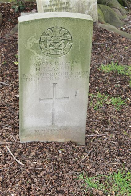 The commonwealth wargrave headstone marking the grave of Harry Beastall in Mansfield (Nottingham Road ) Cemetery. 