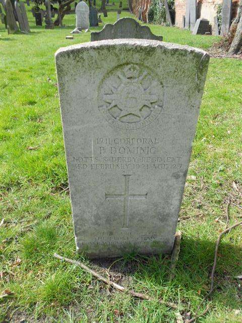 Commonwealth wargrave headstone marking the grave of Percy Dominic at The General Cemetery, Nottingham. Courtesy of Peter Gillings