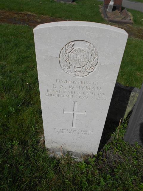 Commonwealth War Grave Commission headstone marking the grave of Edward Austin Whyman, Nottingham General Cemetery. Courtesy of Peter Gillings