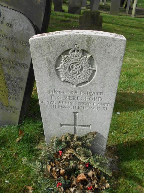 Commonwealth wargrave headstone marking the grave of Frederick Beresford  situated in the General Cemetery, Nottingham. Courtesy of Peter Gillings