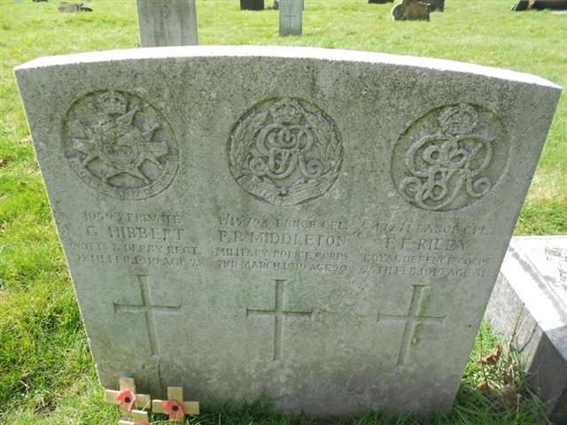 Commonwealth wargrave headstone marking the grave of Francis Frederick Riley situated at The General Cemetery , Nottingham. Courtesy of Peter Gillings