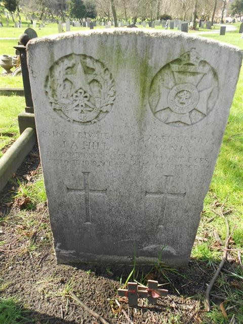 Commonwealth wargrave headstone marking the grave of James Augustus Hill situated at The General Cemetery , Nottingham. Courtesy of Peter Gillings