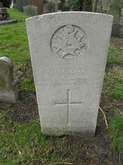 Commonwealth War Grave Commission headstone marking the grave of Joshua Woolley, Nottingham General Cemetery. Courtesy of Peter Gillings