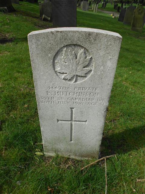 Commonwealth War Graves Commission headstone marking the grave of Percival Hutchinson   situated at the General Cemetery, Nottingham.