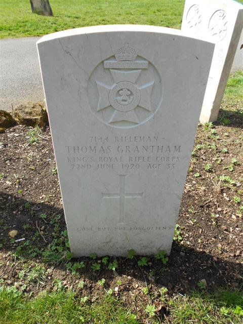 Commonwealth War Graves Commission headstone marking the grave of Thomas Grantham situated at The Nottingham General Cemetery. Courtesy of Peter Gillings