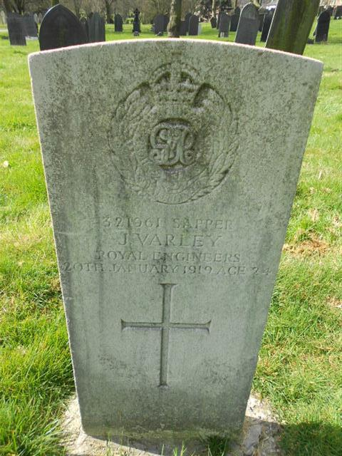 Commonwealth wargrave headstone marking the grave of James Varley  situated at The Nottingham General Cemetery. Courtesy of Peter Gilings