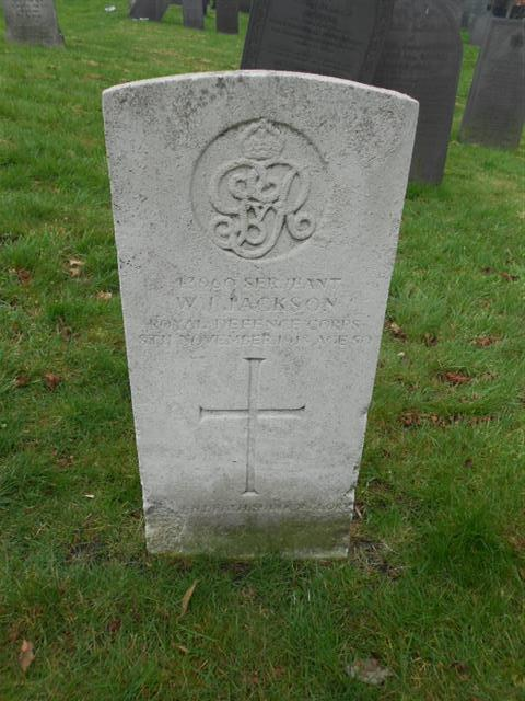Commonwealth wargrave headstone marking the grave of Walter James Jackson situated at the Nottingham General Cemetery, Courtesy of Peter Gillings