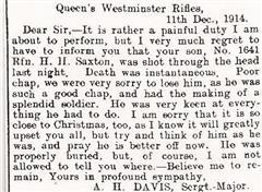 An extract from a letter written following the death of Harold Henry Saxton by his Sgt major A H Davis
