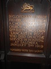 Memorial board commemorating Frederick Arthur Dixon in St Mary Magdalene Church, Newark. Courtesy of Peter Gillings