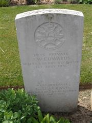 Commonwealth War Graves Commission headstone marking his grave at Foncquevillers Military Cemetery, Pas De Calais, France, Photograph courtesy of Murray Biddle.
