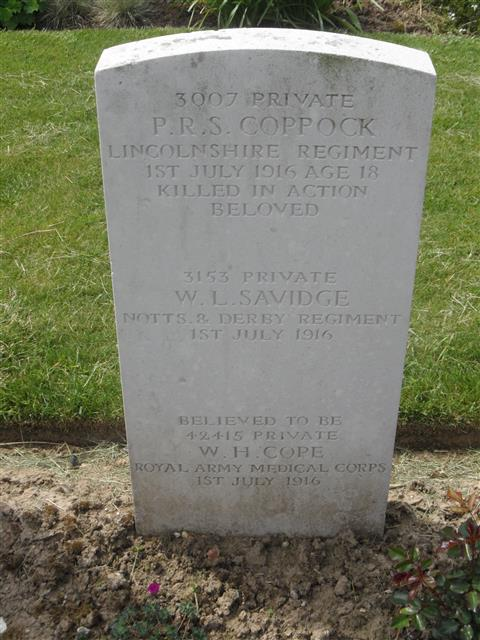 Commonwealth war grave headstone marking his grave at Foncquevillers Military Cemetery, Pas De Calais, France Courtesy of Murray Biddle