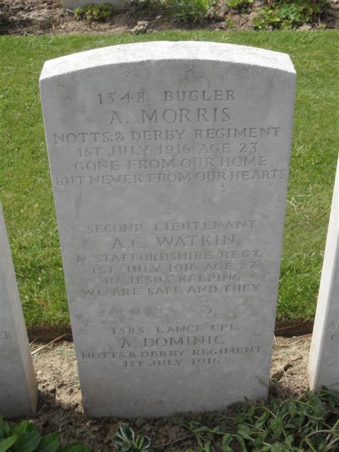 Commonwealth War Graves Commission headstone marking his grave, Foncquevillers Military Cemetery, Pas De Calais, France. Phootgraph courtesy of Murray Biddle