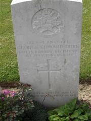 Commonwealth War Grave Commission headstone marking his grave at Foncquevillers Military Cemetery, Pas De Calais, France. Courtesy of Murray Biddle