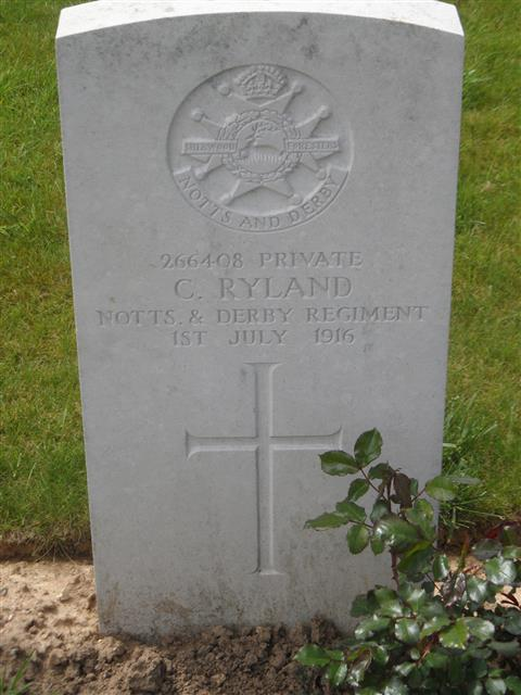 Commonwealth War Graves Commission headstone marking his grave at Gommecourt Wood New Cemetery, Foncquevillers, Pas De Calais, France. Courtesy of Murray Biddle