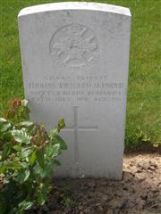 Commonwealth war grave headstone marking his grave at Gommecourt Wood New Cemetery, Foncquevillers, Pas De Calais, France. Courtesy of Murray Biddle