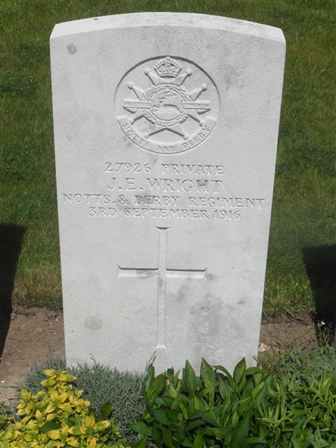 Commonwealth War Graves Commission headstone marking his grave at Knightsbridge Cemetery, Mesnil-Martinsart, Somme, France. Photograph Murray Biddle