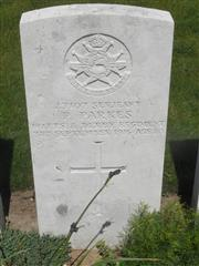 Commonwealth War Graves Commission headstone marking his grave at Knightsbridge Cemetery, Mesnil-Martinsart, Somme, France. Courtesy of Murray Biddle