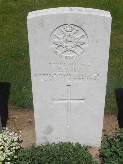 Commonwealth war grave headstone marking his grave at Knightsbridge Cemetery, Mesnil-Martinsart, Somme, France. Courtesy of Murray Biddle