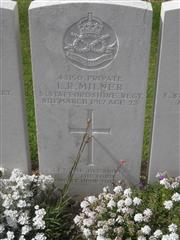 Commonwealth war grave headstone marking his grave at Pozieres British Cemetery, Ovillers-La Boisselle.