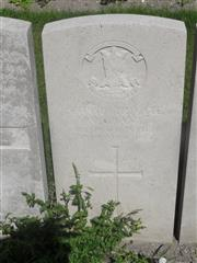 Commonwealth War Graves Commission headstone marking his grave at Noeux-Les-Mines Communal Cemetery extension, Pas de Calais. 