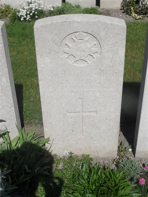 Commonwealth war grave headstone marking his grave at Noeux-Les-Mines Communal Cemetery extension, Pas de Calais. 